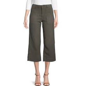 JOIE Olive Coupe Cut Flare Cropped Trousers